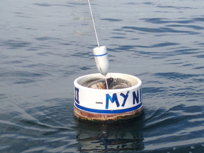 """New """"Bucket-Style"""" mooring ball. Perfect for the cruiser that leaves the mooring for long periods of time. Notice the bridles and tall boy are stored in the ball to avoid fouling and growth while you are away"""